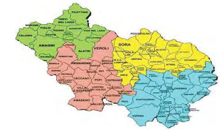 Mappa del territorio dell'Azienda Sanitaria Locale di Frosinone diviso per distretti