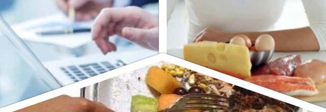 photo collage persone con notebook, donna a tavola e alimenti di origine animale, cibo avanzato nel piatto