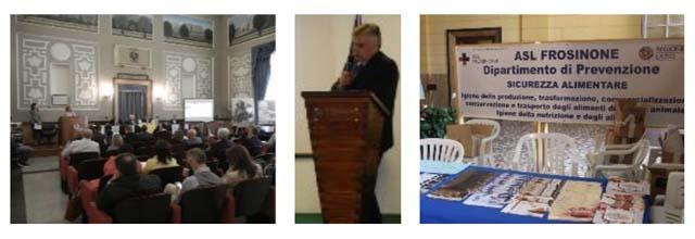 photo collage sala conferenze, relatore, stand asl frosinone dipartimento di prevenzione